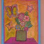 Art flower chalk painting
