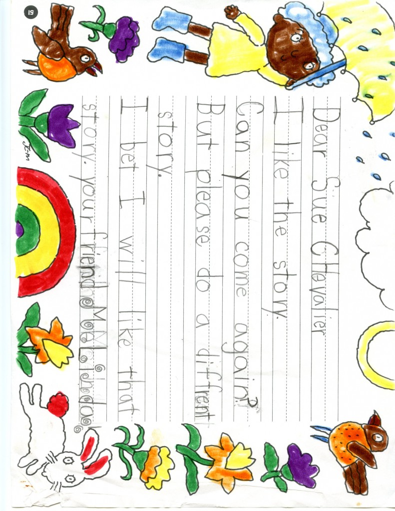 Thank you letter from student at Greenleaf Elementary School